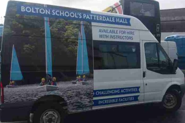 ef818e867d Bolton School Minibus vinyl branded with new livery