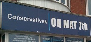 Blackpool Shop Front Branded for Conservative Party