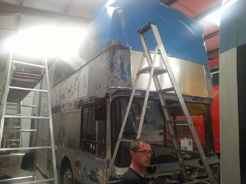 Stripped Bus Ready for Full Wrap