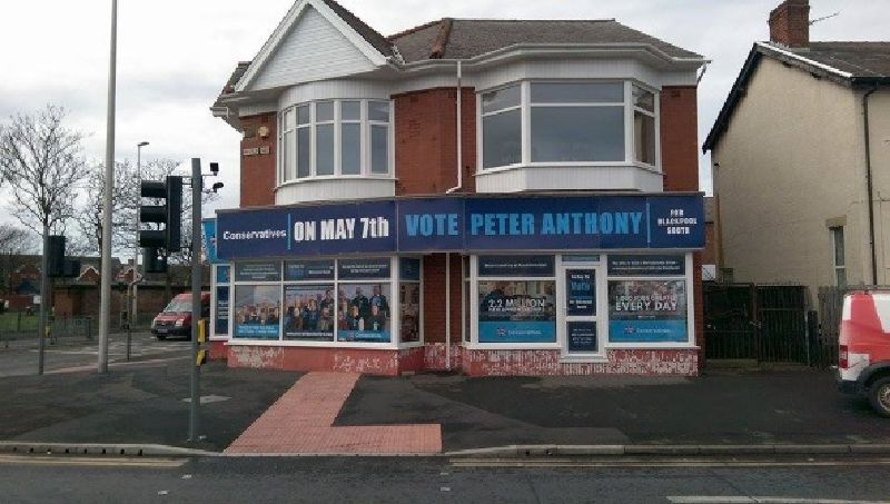 Blackpool Shop Sign applied for conservative party