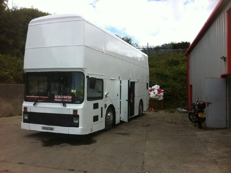 White painted bus exterior