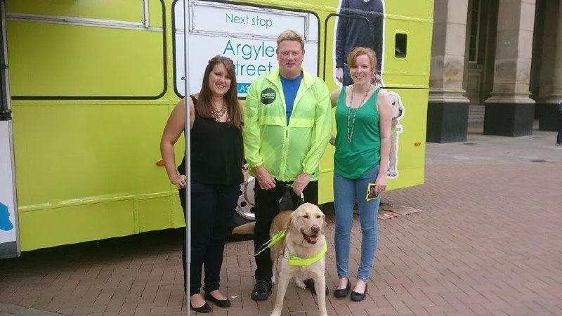 Guide Dogs Promotional Bus UK Tour for Talking Buses Campaign