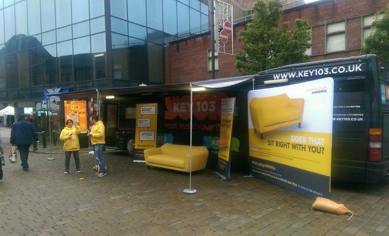 Bauer Media Key 103 Event Bus Yellow Sofa Campaign