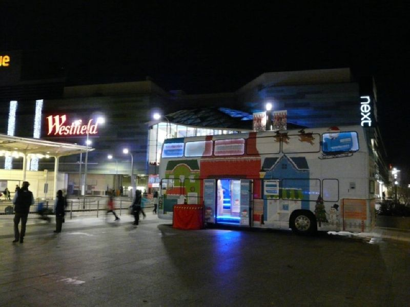 The exhibition bus at night London