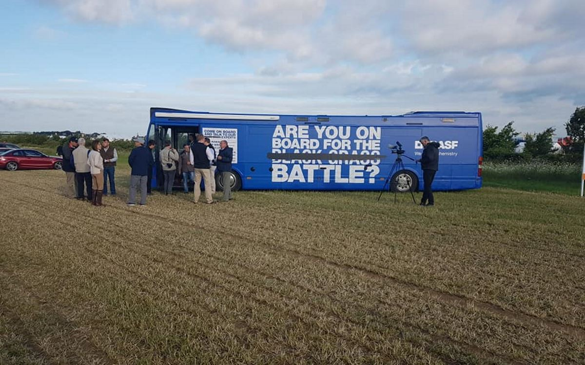 BASF Black Grass Promotional Battle Bus Donnington