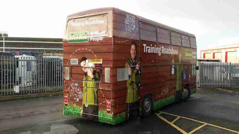 Woodies Full Vinyl Wrap Training Bus