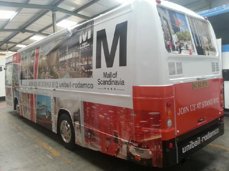 Unibail-Rodamco vinly wrapped bus, branded as advert for stand location